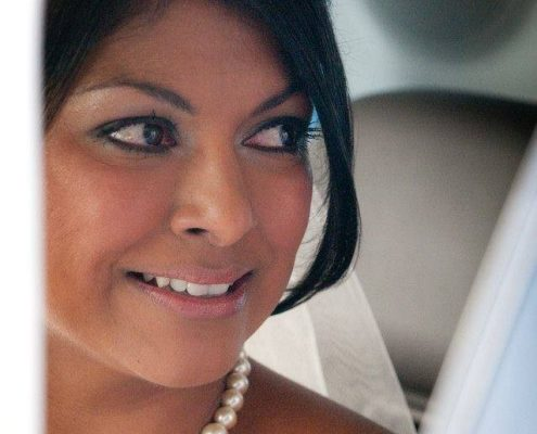 Tanned bride in close-up
