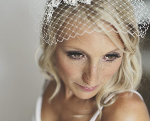 Close up of blond bride to show her make-up