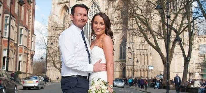 Wedding couple in front of York Minster