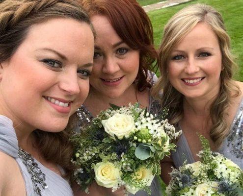 Three Bridesmaids after their makeup